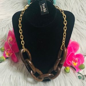 Yochi Link Up Necklace Natural Wood NWT